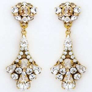 Crystal Chandelier Earrings. Champagne, Gold